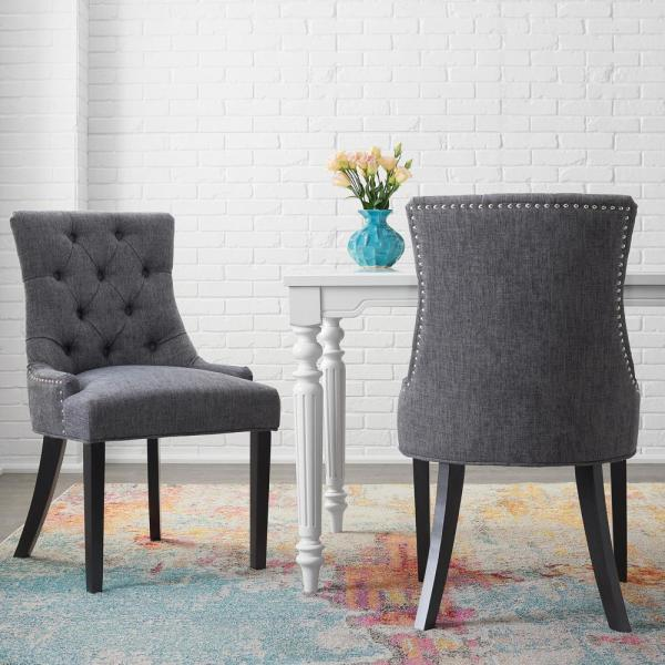 Stylewell Bakerford Ebony Wood Upholstered Dining Chair With Charcoal Seat Set Of 2 21 85 In W X 36 22 In H Nutton D Ec The Home Depot
