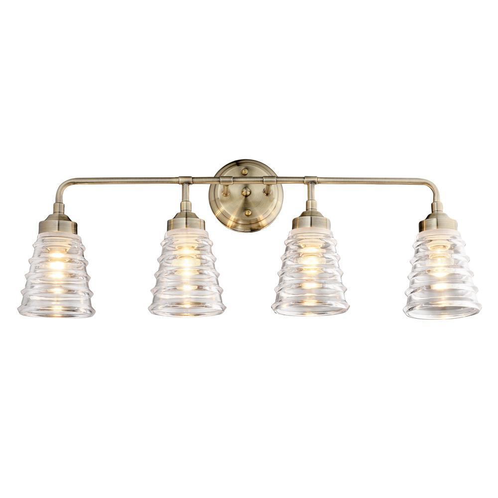 Amherst 4-Light Antique Brass Bath Light