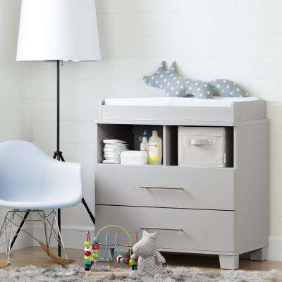 Cuddly 2-Drawer Soft Gray Changing Table