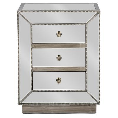 Currin Glam 3-Drawer Silver Metallic Finished Wood Nightstand