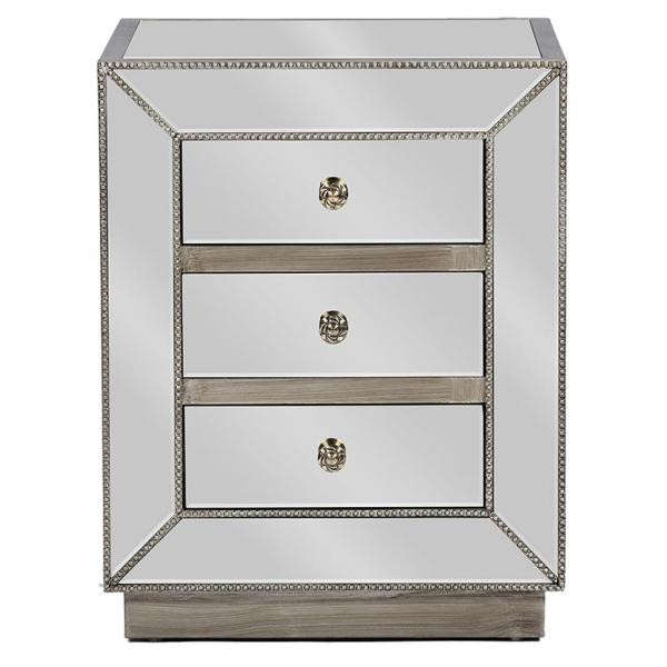 Baxton Studio Currin Glam 3-Drawer Silver Metallic Finished Wood Nightstand