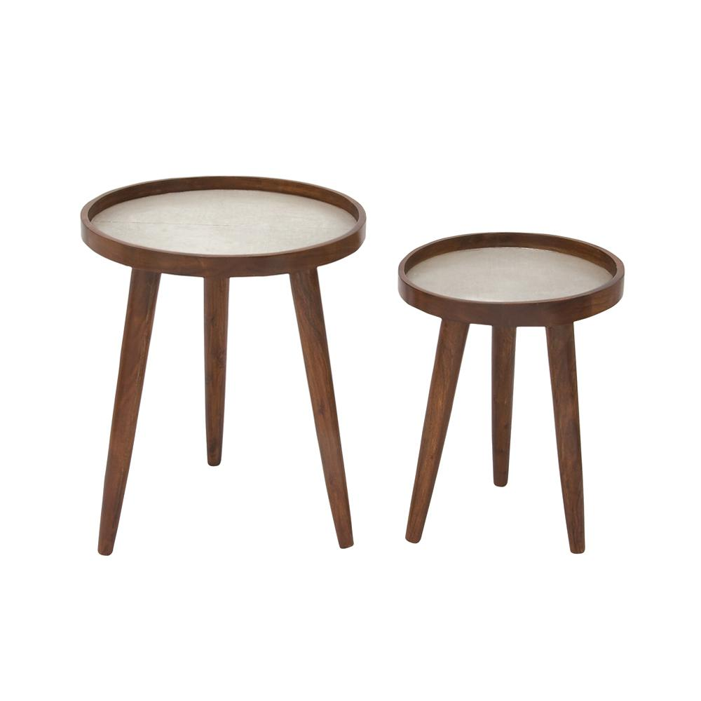 Mahogany Brown Tri-Legged Round Side Tables (Set of 2)