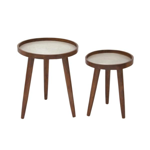 Round Coffee Table With Chairs.Mahogany Brown Tri Legged Round Side Tables Set Of 2
