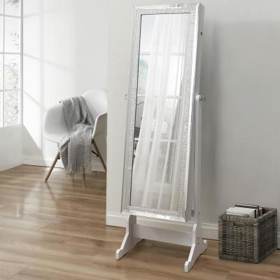 Shimmer Pristine White Crystal Border Cheval Mirror Jewelry Armoire 57.5 in. x 18.1 in. x 14.5 in. with LED Lights