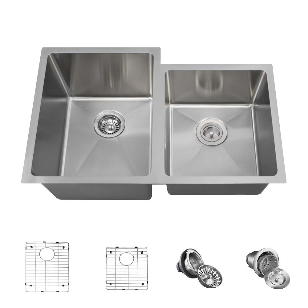 All-in-One Undermount Stainless Steel 31-1/4 in. Left Double Bowl Kitchen Sink