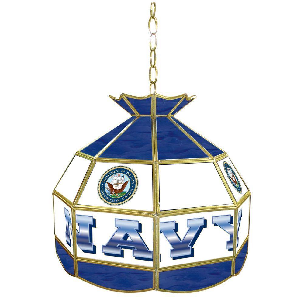 1-Light United States Navy Hanging Tiffany Lamp