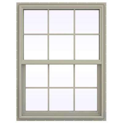 35.5 in. x 47.5 in. V-4500 Series Single Hung Vinyl Window with Grids - Tan
