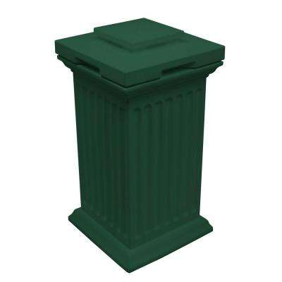 Savannah 16 in. x 16 in. x 38 in. Polyethylene Column Waste and Storage Bin in Green