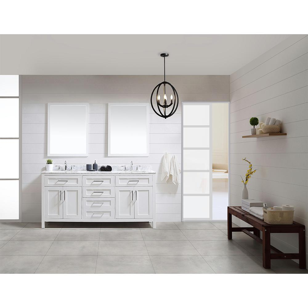 Ove Decors Vanity White Marble Top White Basin Mirror