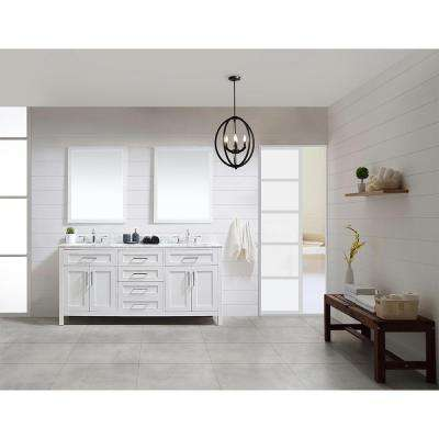 OVE Tahoe 72 in. W x 21 in. D Vanity in White with Carrera Marble Vanity Top in White with White Basin and Mirror