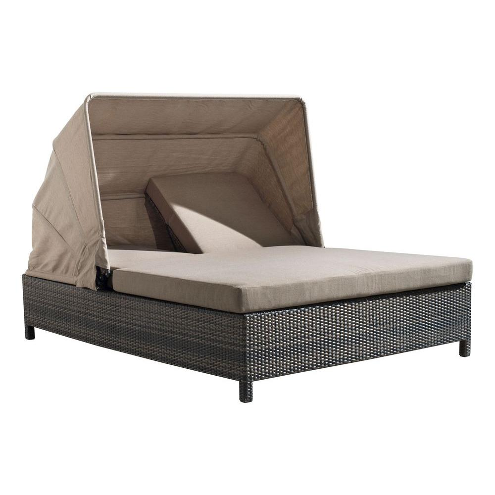 ZUO Espresso Siesta Key Double Patio Chaise Lounge with Tan Cushions