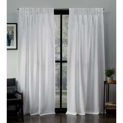 Loha 27 in. W x 84 in. L Linen Blend Pinch Pleat Top Curtain Panel in Winter White (2 Panels)