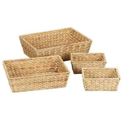 Water Hyacinth Large Bowls Natural (Set of 4 1/L-1/M & 2/S)