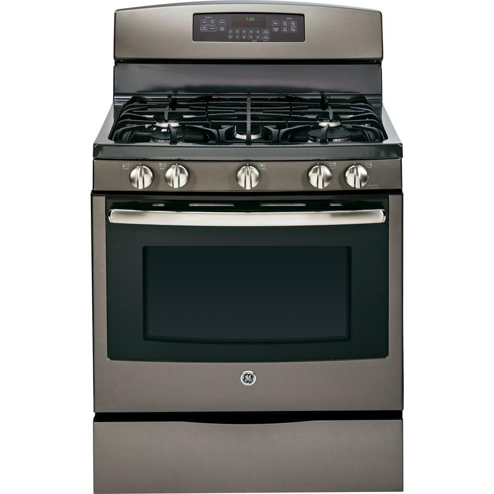 GE 5.6 cu. ft. Gas Range with Self-Cleaning Convection Oven in Slate