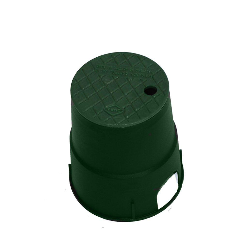 DURA 7 in. Round Valve Box in Green Body Green Lid