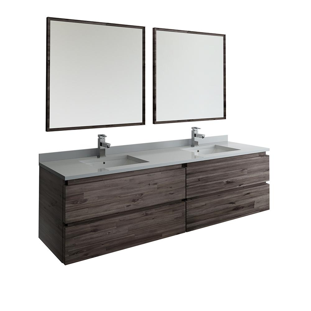 huge selection of 46a17 2fa8f Fresca 72 in. Modern Double Wall Hung Vanity in Warm Gray with Quartz Stone  Vanity Top in White with White Basins and Mirror