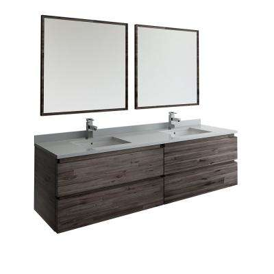 72 in. Modern Double Wall Hung Vanity in Warm Gray with Quartz Stone Vanity Top in White with White Basins and Mirror