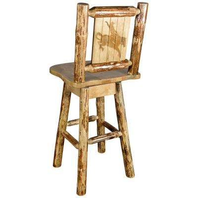 Glacier 30 in. Laser Engraved Bronc Motif Swivel Bar Stool