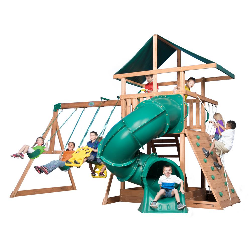 Swing N Slide Playsets Orbiter Wood Complete Swing Set Pb