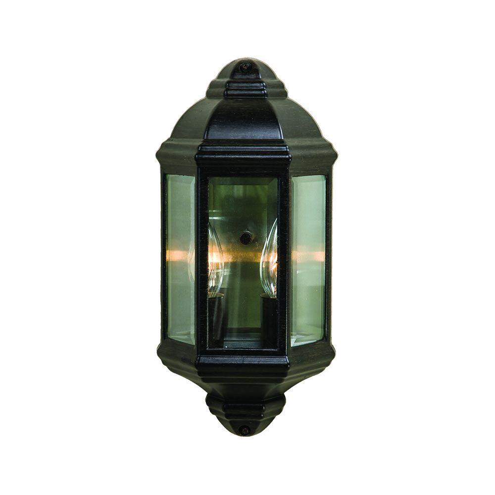 Pocket Lantern Collection 2-Light Black Coral Outdoor Wall Mount Light Fixture