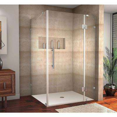 Avalux 48 in. x 36 in. x 72 in. Frameless Shower Enclosure in Stainless Steel with Self Closing Hinges