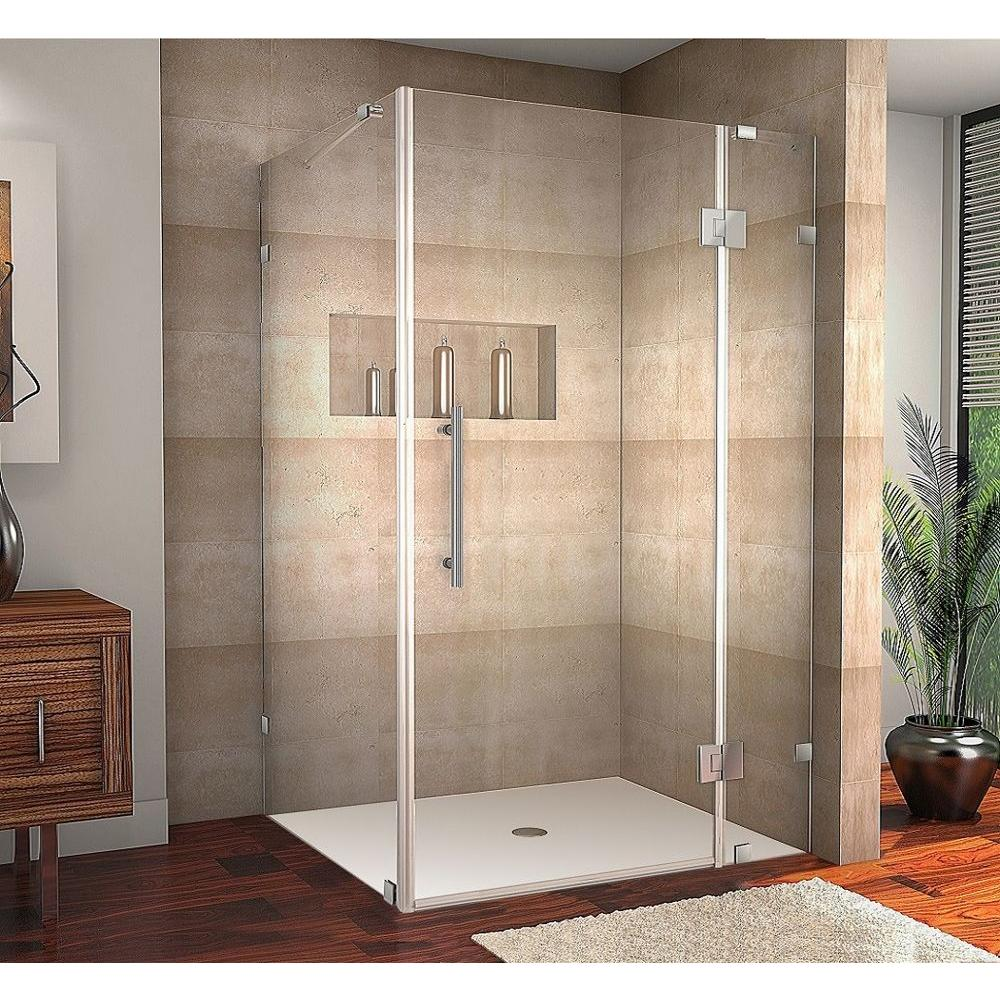 Aston Avalux 48 In X 36 In X 72 In Frameless Shower Enclosure In Stainless Steel With Self Closing Hinges Sen987 Ss 4836 10 The Home Depot
