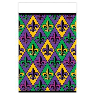 Fleur De Lis 54 in. x 102 in. Plastic Mardi Gras Table Cover (3-Pack)