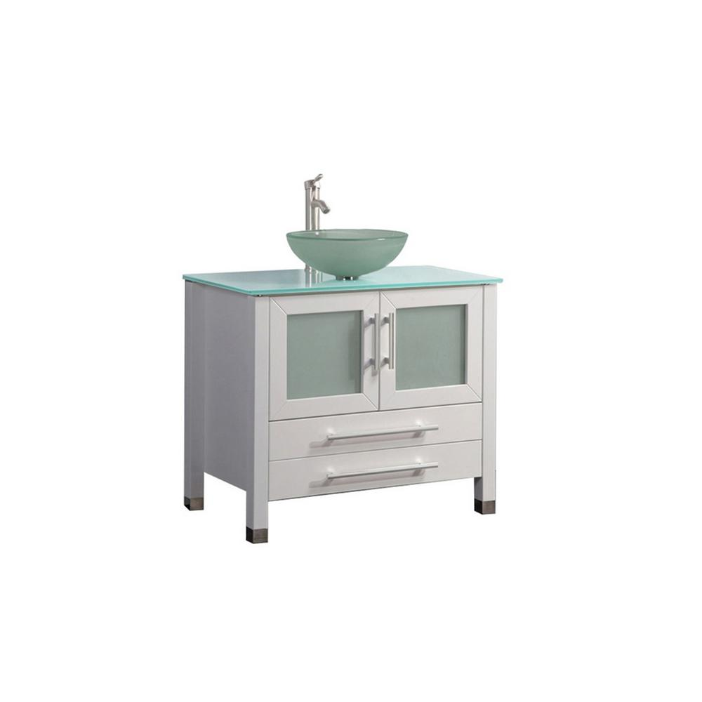 MTD Vanities Caen 36 in. W x 20 in. D x 36 in. H Vanity in White with Aqua Tempered Glass Vanity Top with Frosted Glass Basin