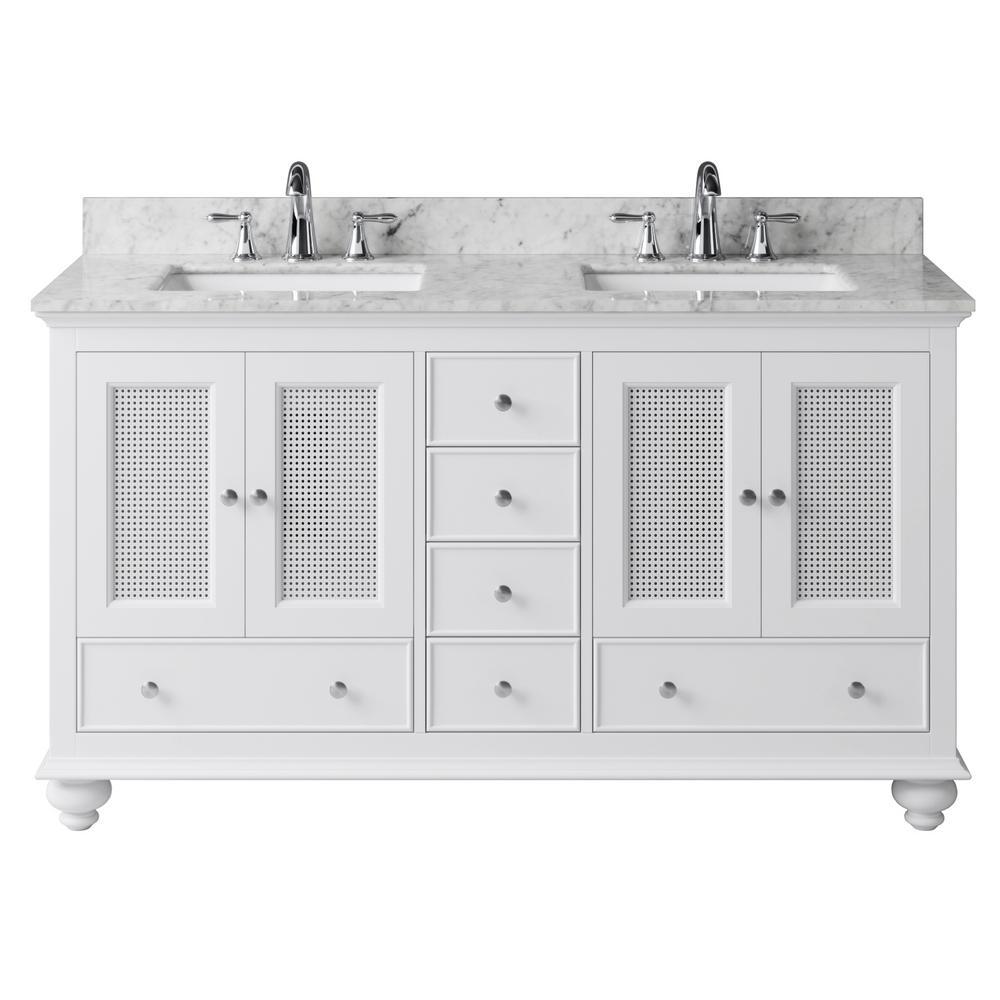 Aerin 59.3 in. W x 21.65 in. D x 33.86 in. H Bath Vanity in White with Marble Vanity Top in White with White Basins