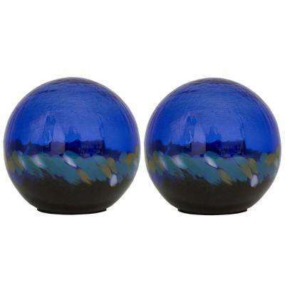 5 in. Art Glass Solar Gazing Ball, Alyssa (2-Pack)