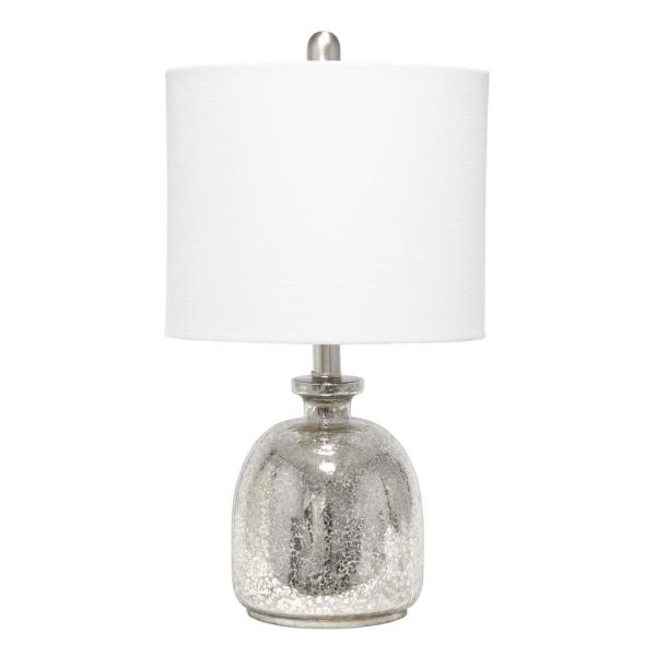 Lalia Home 20 In Mercury Hammered Glass Jar Table Lamp With White Linen Shade Lht 5014 Mr The Home Depot