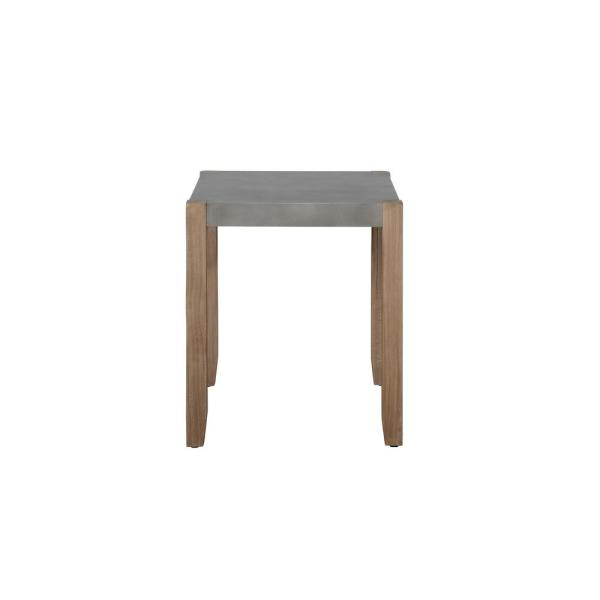 24 in. Newport Square Gray Faux Concrete and Wood End Table