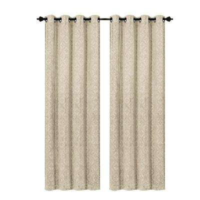 Semi-Opaque Matine Trellis Extra Wide Taupe Embossed Velvet Grommet Curtain Panel - 54 in. W x 84 in. L