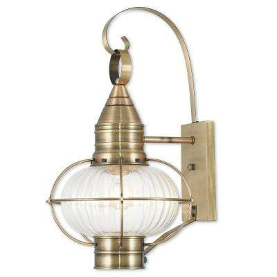 Newburyport 1-Light Antique Brass Outdoor Wall Mount Lantern