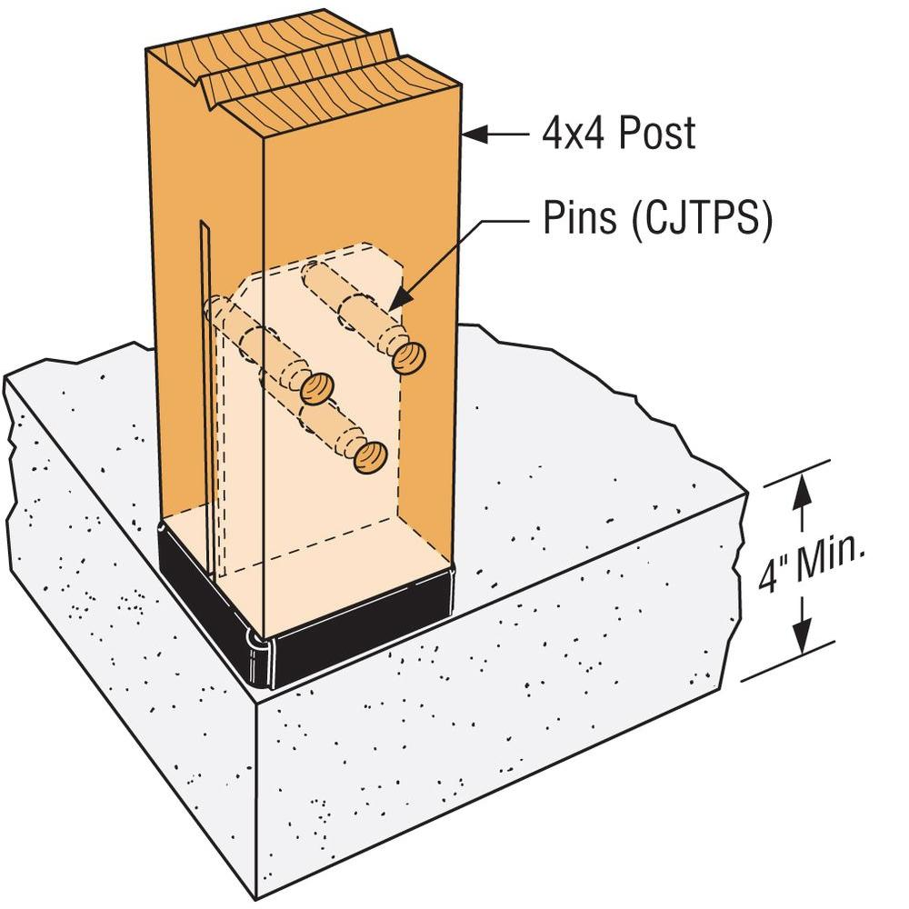 4 x 4 x 4 CPT Concealed Fence Post Bases with Dowels