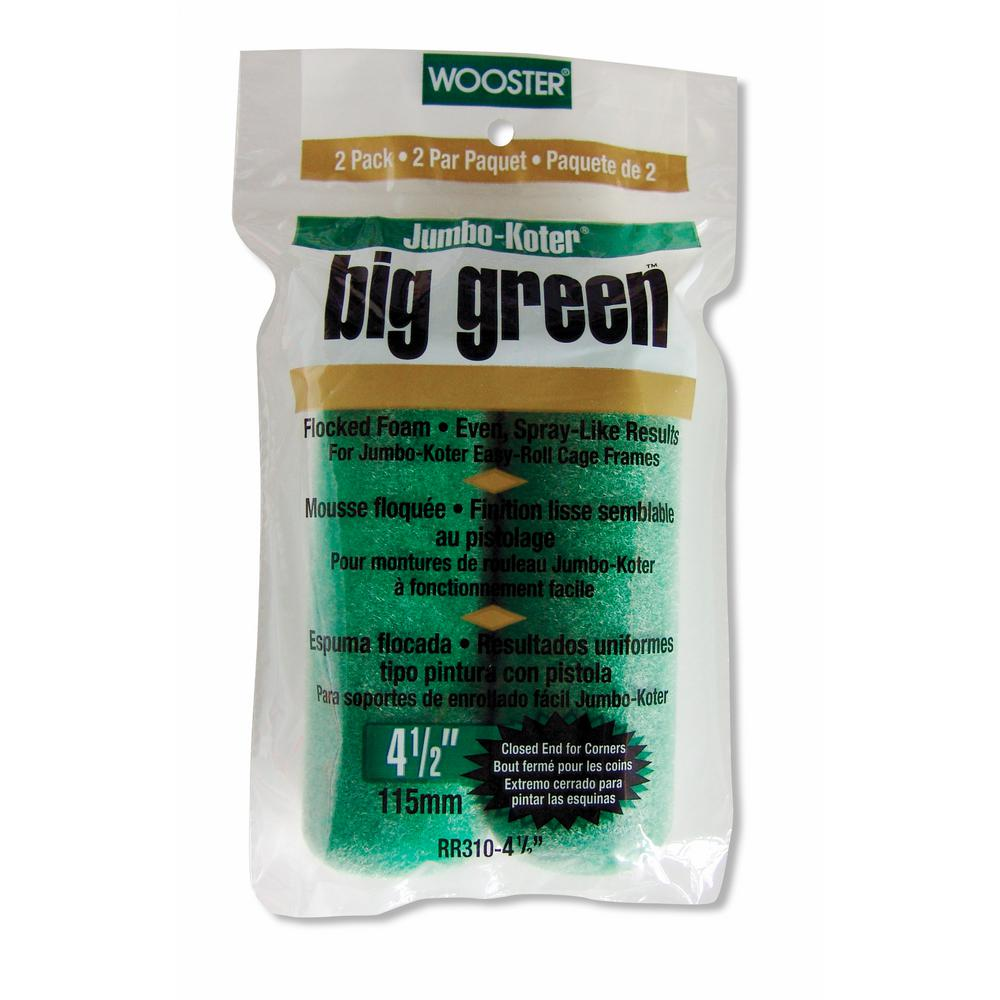 Wooster 4-1/2 in. Jumbo-Koter Big Green Flocked Foam Rollers (2-Pack)