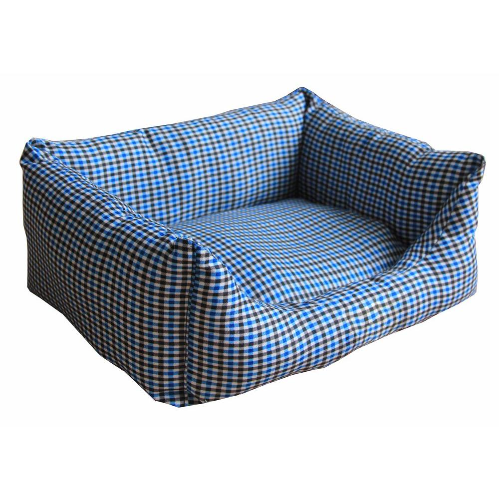 Rectangular Medium Blue Plaid Bed