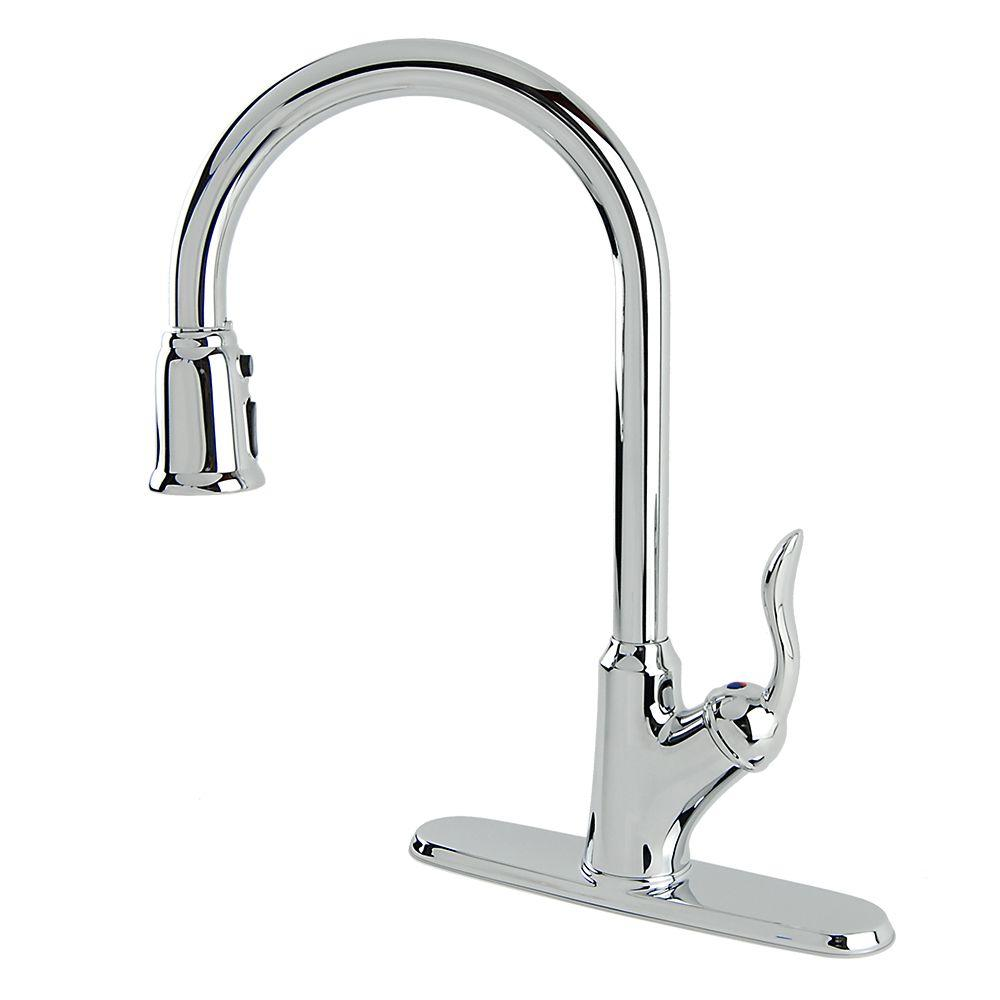 Francesca Single-Handle Pull-Down Sprayer Kitchen Faucet in Chrome