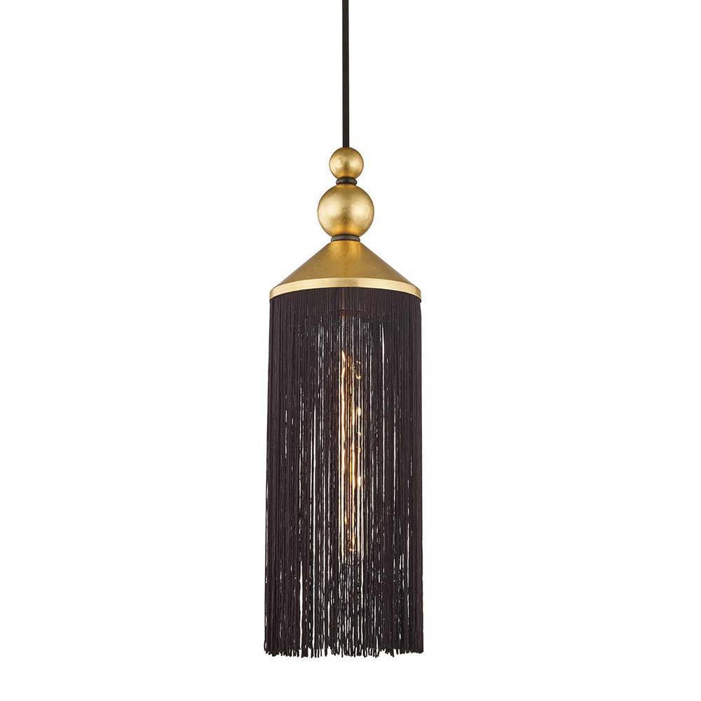 Mitzi By Hudson Valley Lighting Scarlett 1 Light Gold Leaf Black Pendant