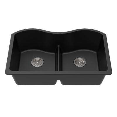 Undermount Granite Composite 33 in. x 20 in. x 9-1/2 in. Double Equal Bowl Low Divide Kitchen Sink in Black