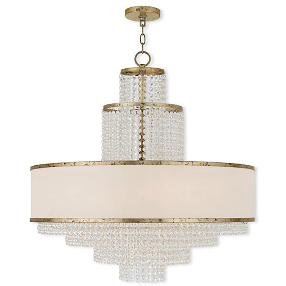 Prescott 8-Light Winter Gold Chandelier with Off-White Sheer Organza Shade