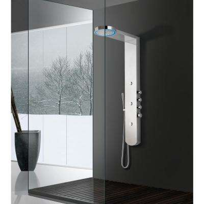 3-Jetted Full Body Shower Panel System with Moon LED Shower Panel in Mirror Finish (Valve Included)