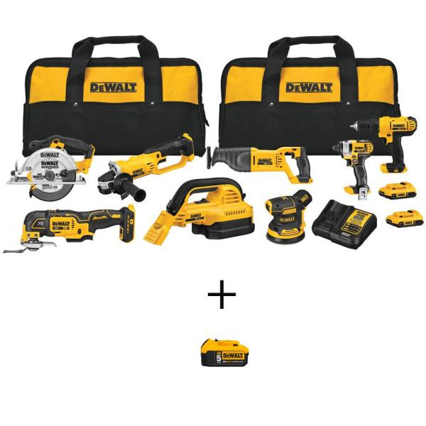 20-Volt MAX Lithium-Ion Combo Kit (8-Tool) with 20-Volt MAX XR Lithium-Ion Premium Battery Pack 5.0 Ah