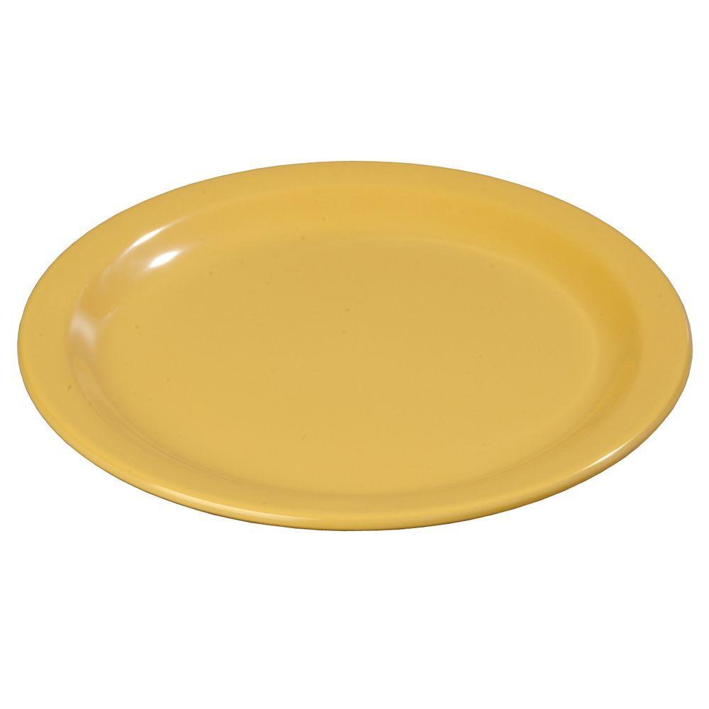 9 in. Diameter Melamine Dinner Plate in Honey Yellow (Case of 48)