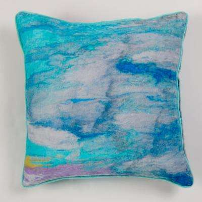 New York Gallery Art by Anu Abstract Turquoise Pillow