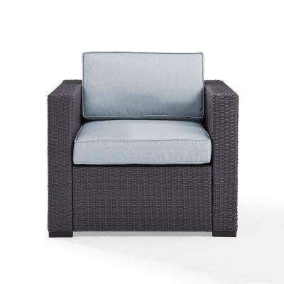 Biscayne Wicker Outdoor Lounge Chair with Mist Cushions
