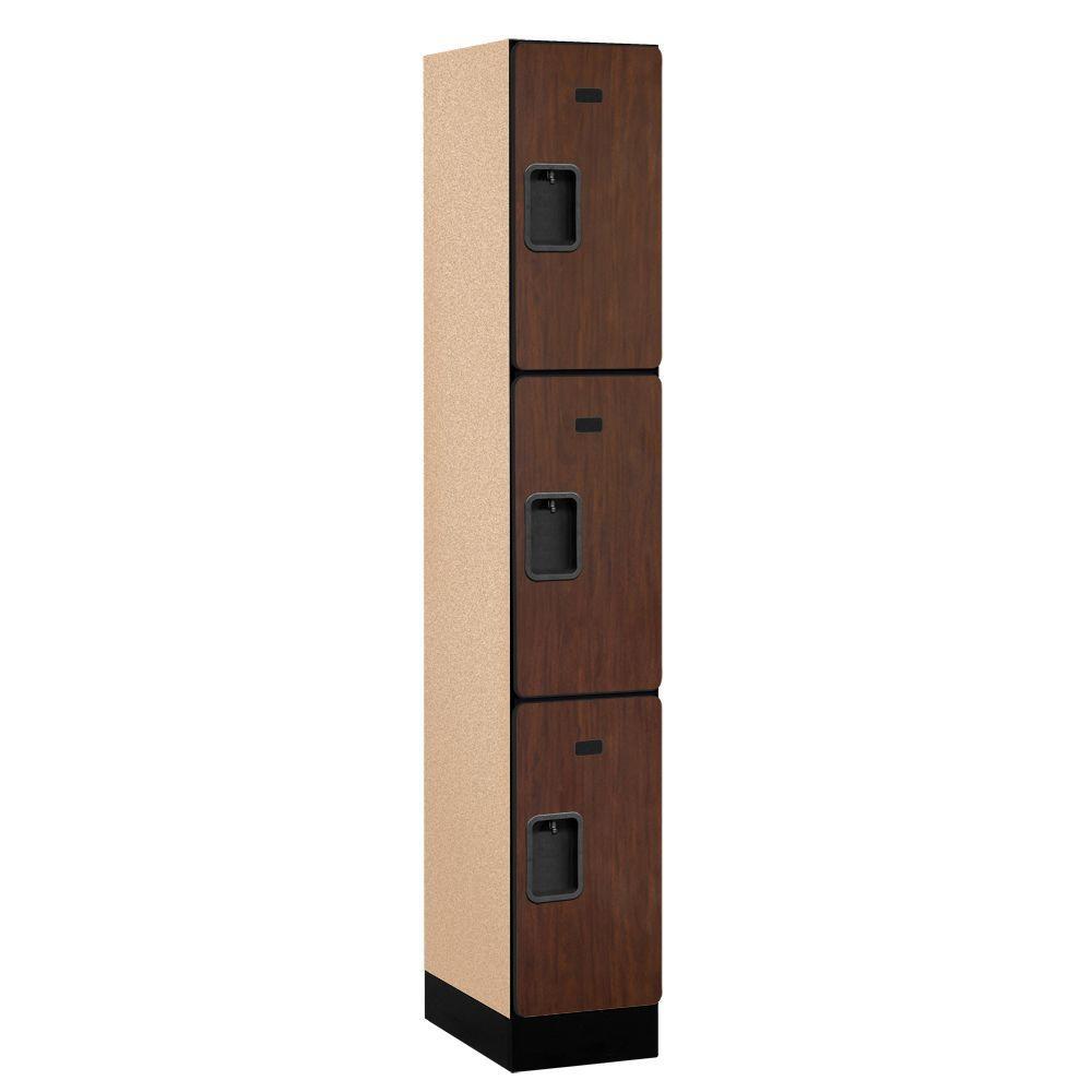 Salsbury Industries 33000 Series 12 in. W x 76 in. H x 18 in. D 3-Tier Designer Wood Locker in Mahogany