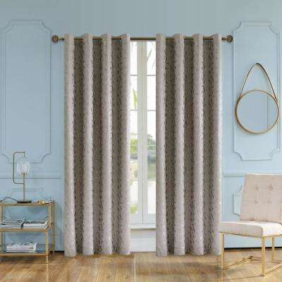 Simone 95 in. L x 54 in. W Jacquard Leaf Polyester Curtain in Mink