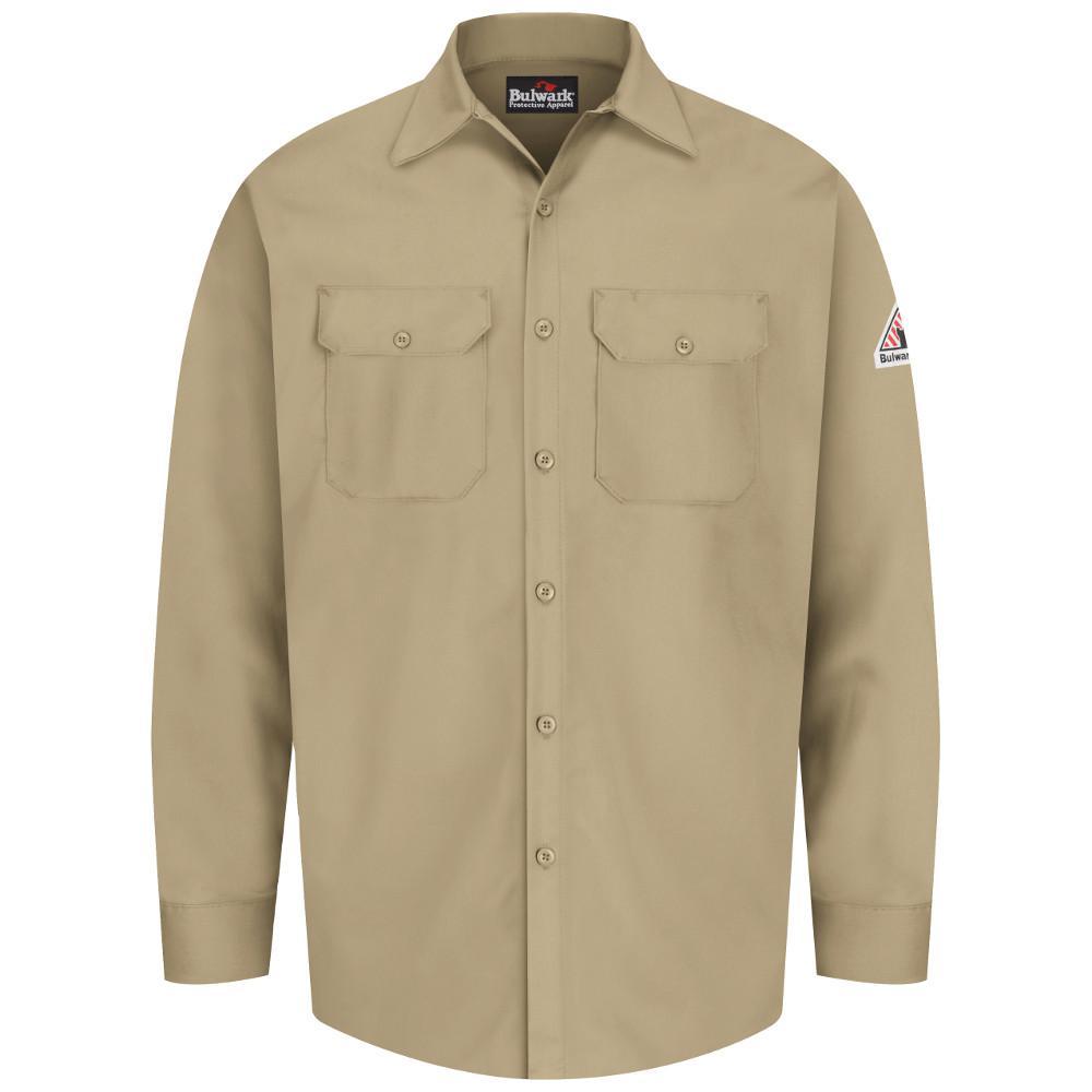 76ad2fbed40 Bulwark EXCEL FR Men s 2X-Large (Tall) Khaki Work Shirt-SEW2KH LN ...