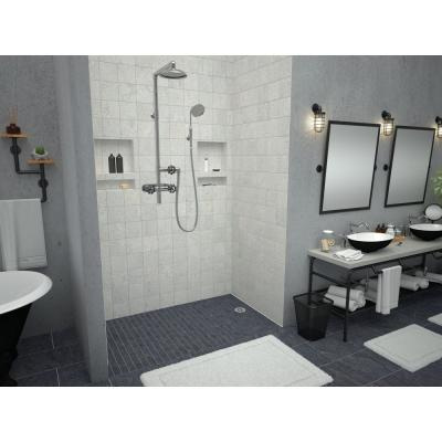 Redi Free 30 in. x 54 in. Barrier Free Shower Base with Right Drain and Polished Chrome Drain Plate